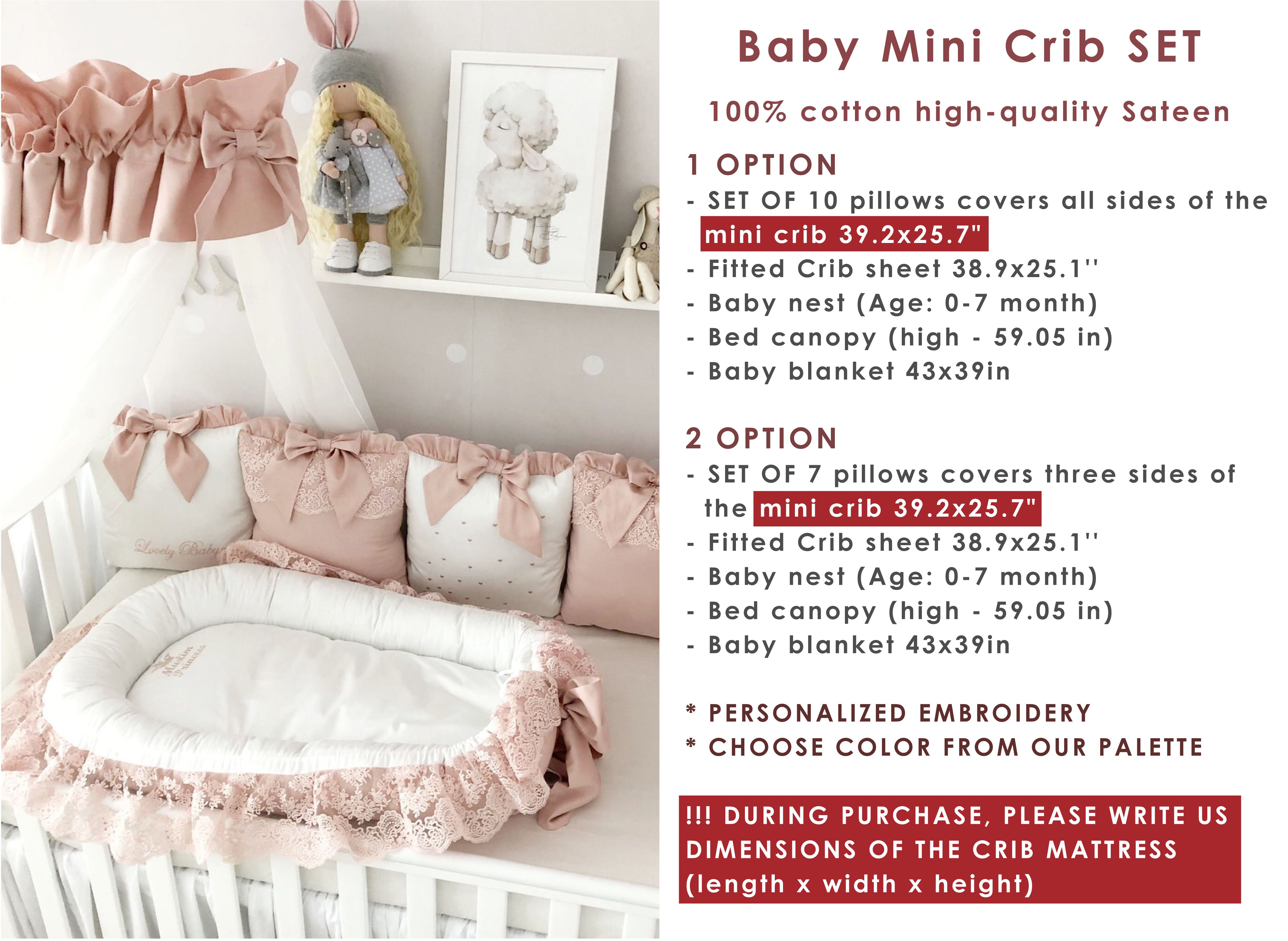 Baby Girl Bedding Crib Set Cot Bedding Set For Girl Personalized Baby Bedding Deluxe Baby Nest Baby Sleeper Bumper Pads Receiving Blanket Mini Crib Bedding Baby Girl Crib Bedding Sets