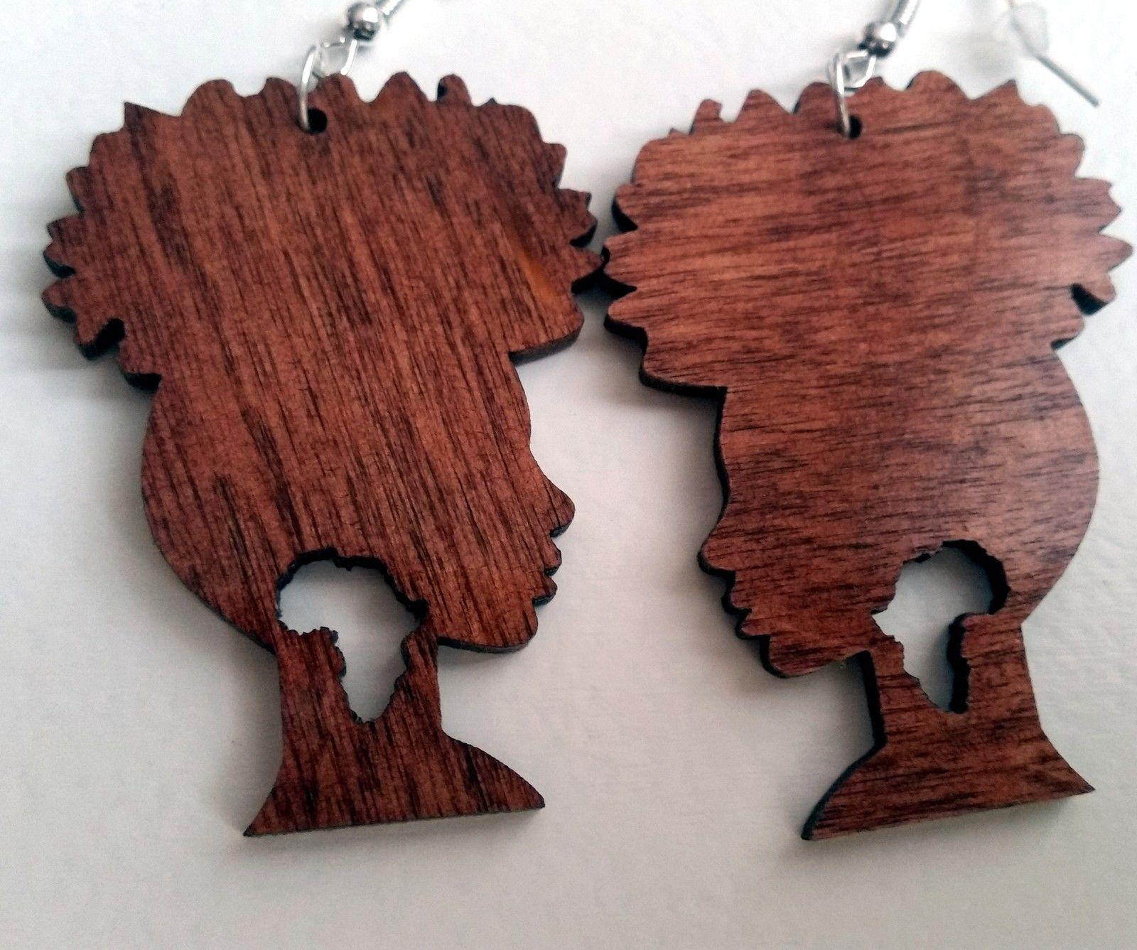 Beautiful laser cut wooden earrings Afro girl silhouette Africa in large | eBay