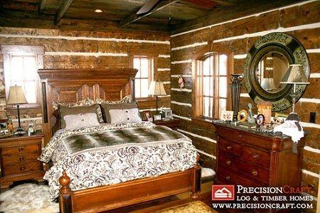 Charming bedroom Log home decor Pinterest Log cabins, Cabin