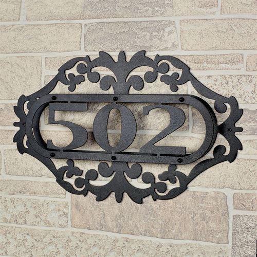 LaRoyal Black Metal House Number Address Plaque
