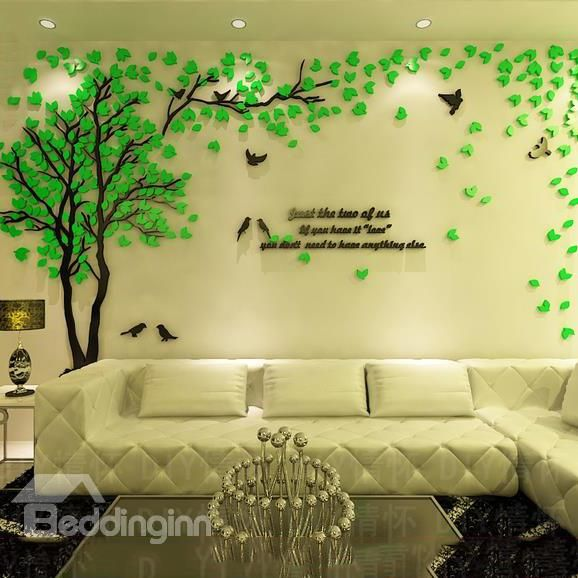 high grade green tree crystal acrylic 3d wall stickers on on wall stickers id=84776