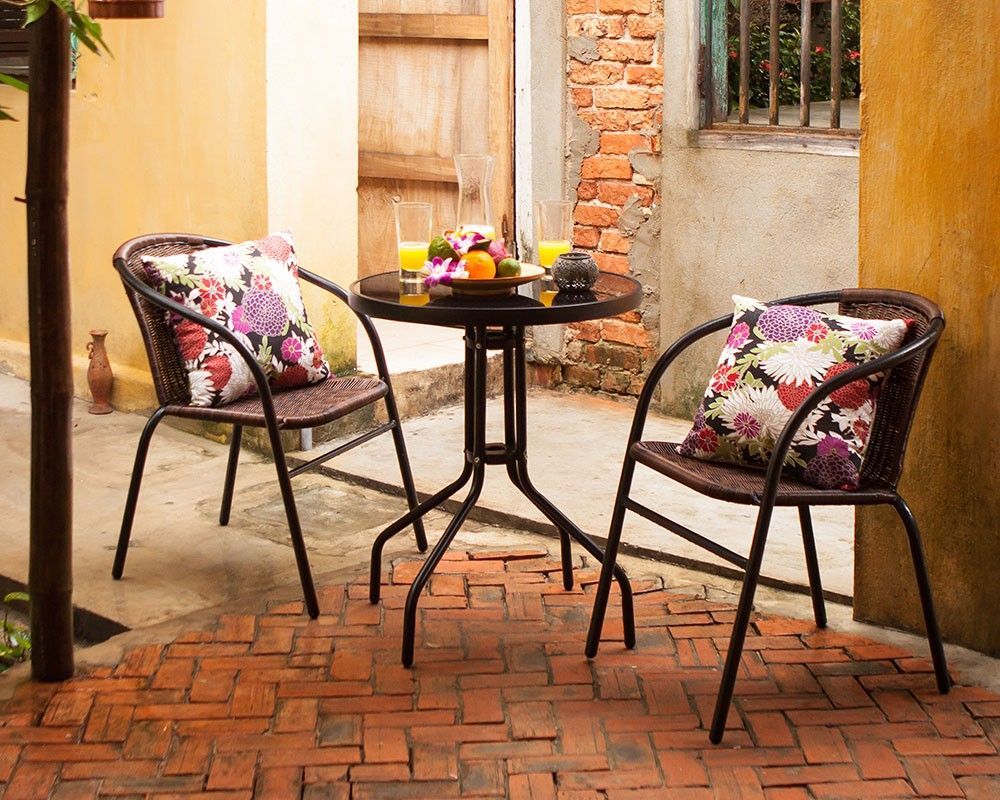 Patio Bistro Table + 2 BRAVA Stackable Patio