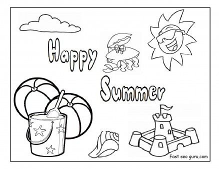 Free happy summer beach coloring