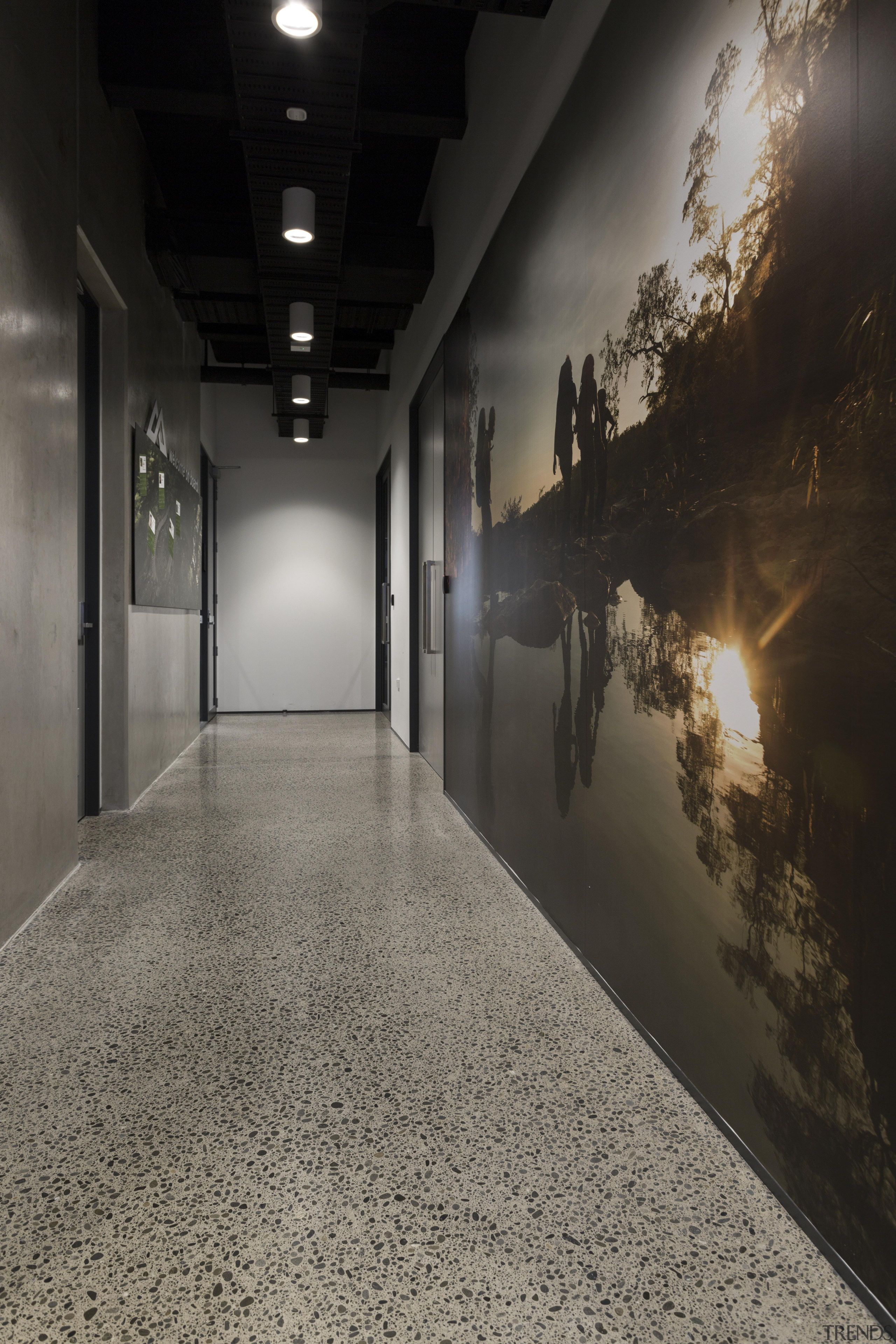 Polished Concrete Floors And An Atmospheric Photo Mural Architecture Floor Flooring Light Tour Polished Concrete Concrete Floors Polished Concrete Flooring