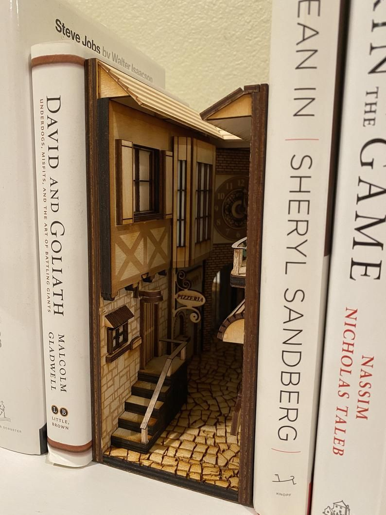 Italian Alleyway Book Nook And Book Shelf Insert Personalizable Book Nooks Bookends Bookshelf Art