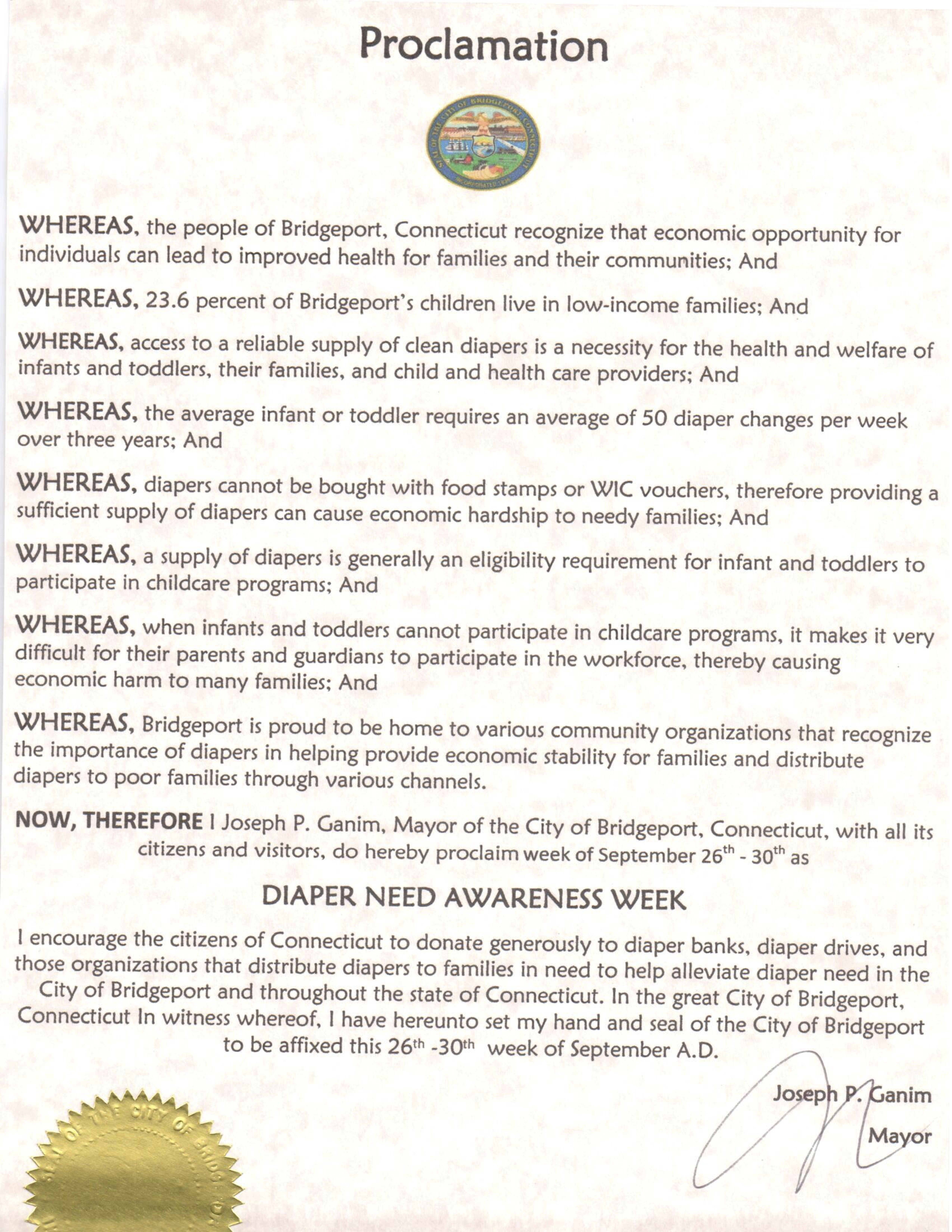 Bridgeport, CT - Mayoral proclamation recognizing Diaper Need Awareness Week (Sept. 26 - Oct. 2, 2016) #DiaperNeed www.diaperneed.org