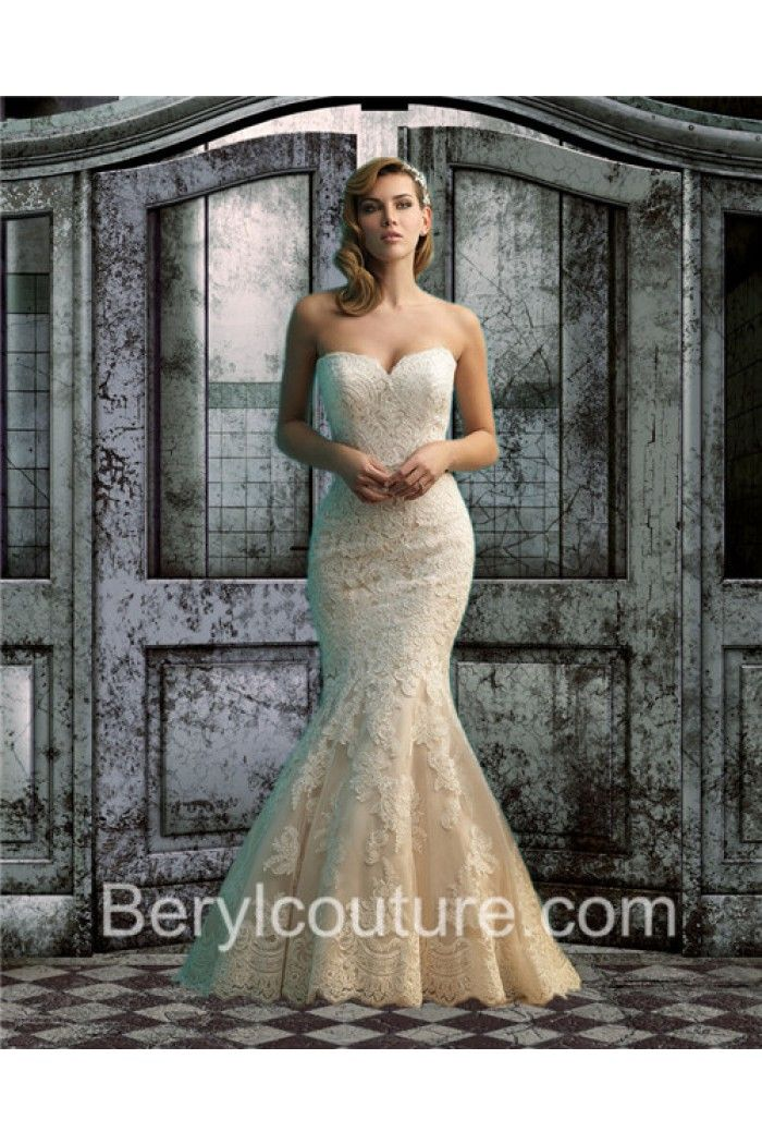 Trumpet Mermaid Sweetheart Low Back Champagne Color Lace Wedding