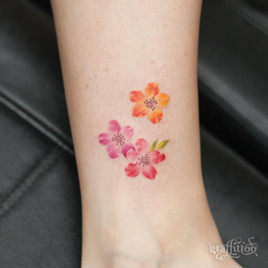 image result for watercolor flower tattoos