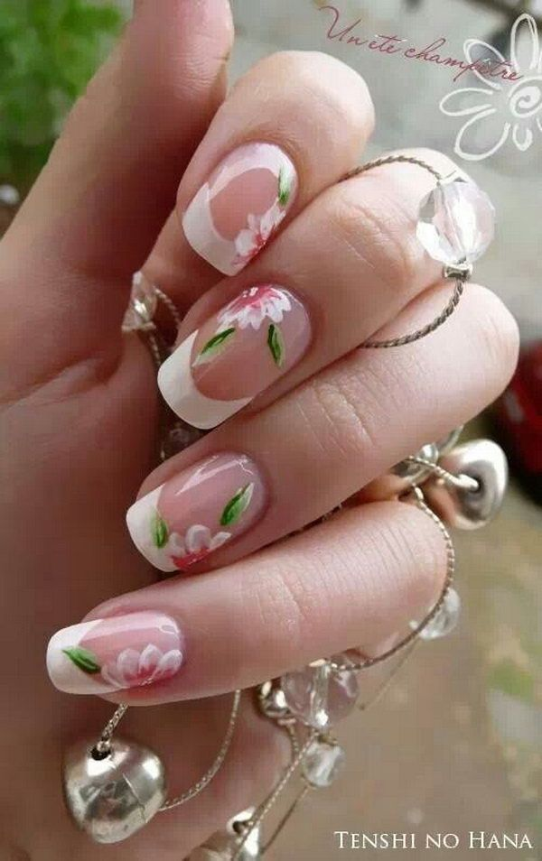 Clear French Manicure Accented with Abloom Flowers. | Nailart: Hand ...