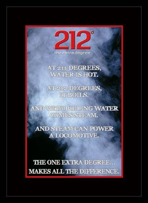 212 degrees Inspiring you to achieve results beyond your wildest expectations, 212° the extra degree shows that one extra degree makes all the difference the phenomenon that takes place when the temperature of water goes from 211° to 212° reminds us that seemingly small things can make tremendous differences.