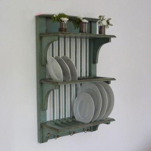 124 In Sale Vintage Grey Blue Wall Mounted Plate Rack Bd Bb384