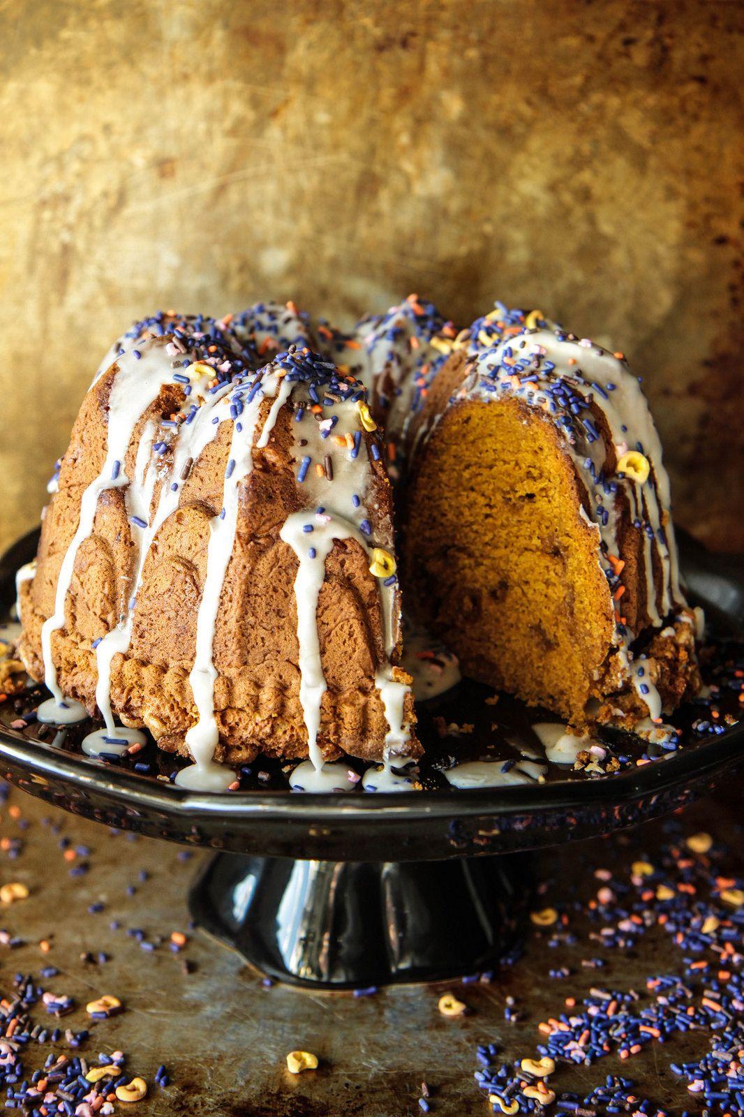 Pumpkin white chocolate bundt cake gluten free and vegan