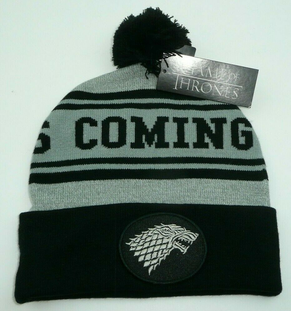 8a2230ddbfffc Game of Thrones Stark Winter is Coming Beanie Hat Grey Black Dire Wolf  Patch  Bioworld  Beanie