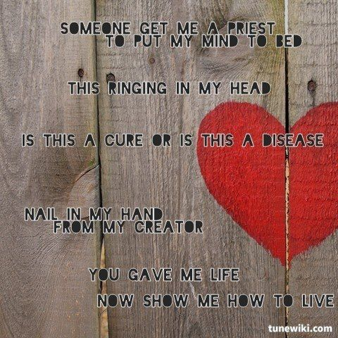 Lyricart For Show Me How To Live Audioslave By Me Favorite