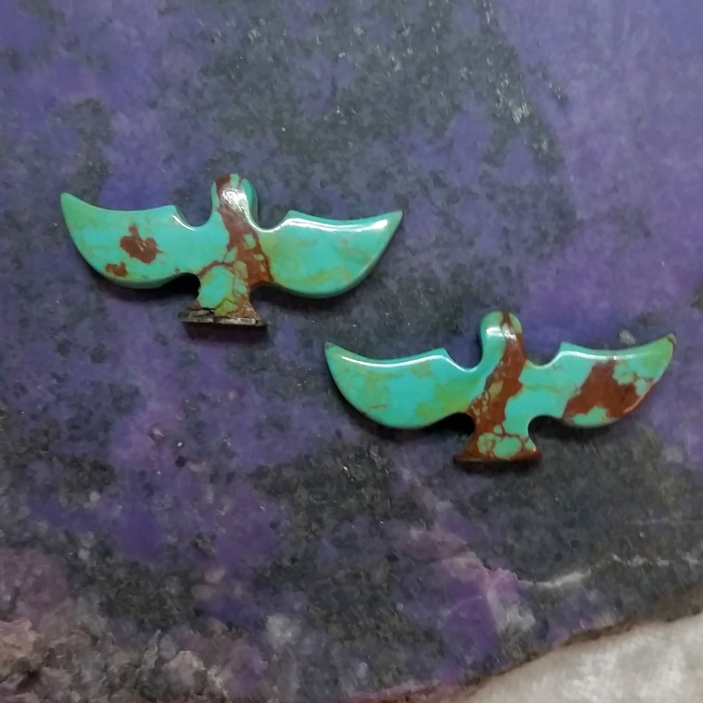 Pilot Mountain Turquoise Flying Eagle Cabcohon Pair / backed by SaiyoStoneJewelry on Etsy