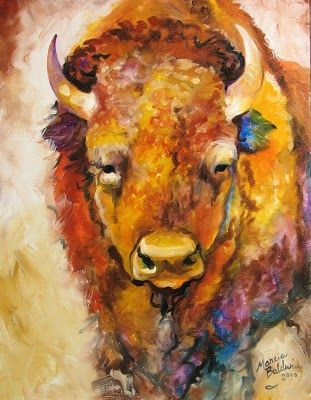 Daily Paintings ~ Fine Art Originals by Marcia Baldwin: WILD WEST BUFFALO ORIGINAL OIL PAINTING 18x14 by M BALDWIN