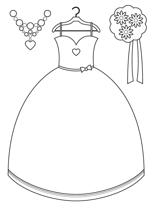Bridesmaid Dress and Accessories Free Printable Coloring Pages