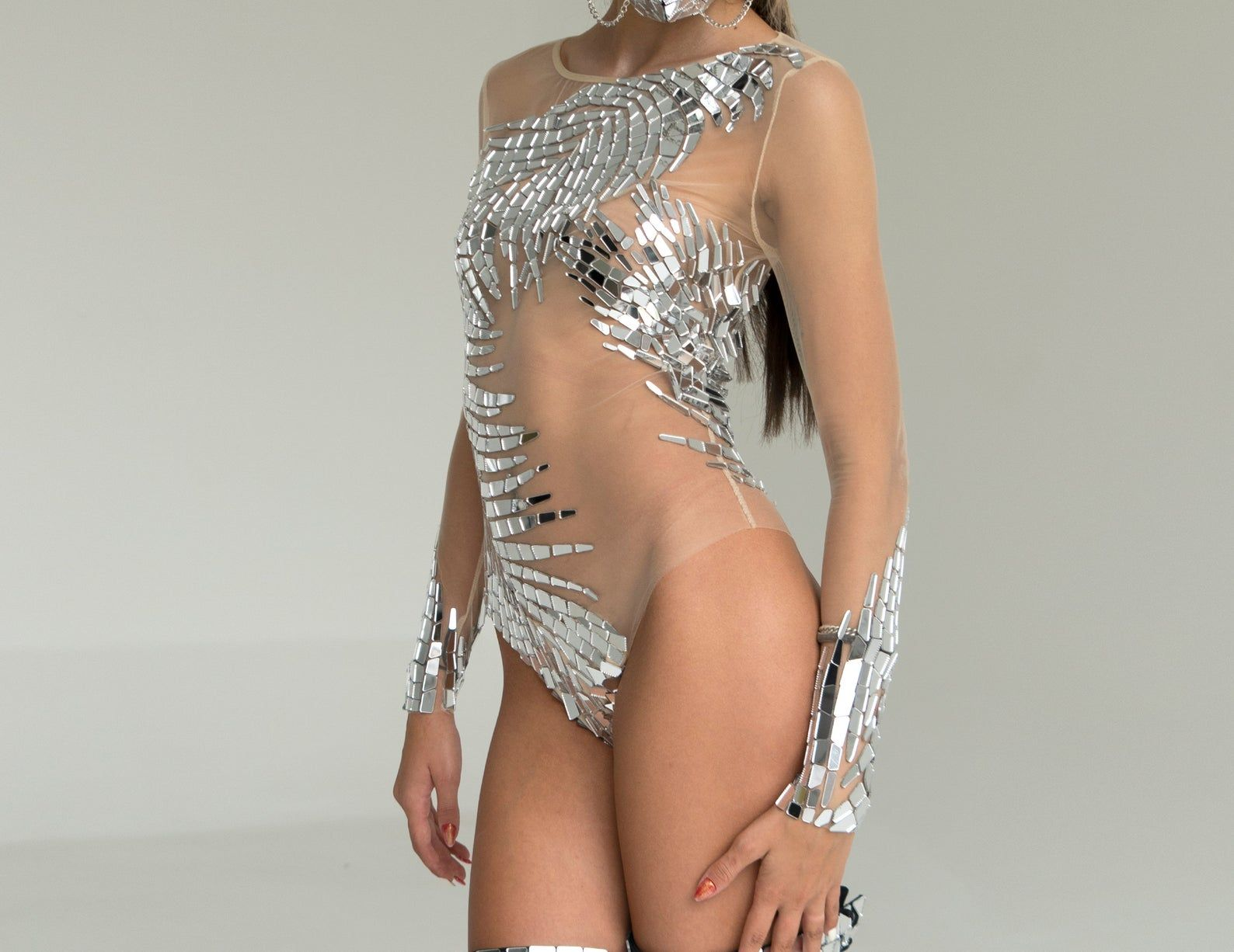 Sequin silver mirror dance bodysuit on transparent