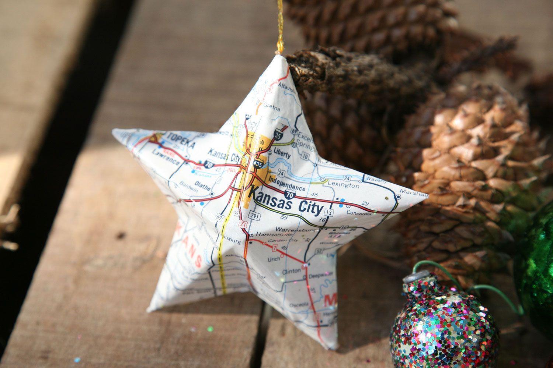 Kansas City, Missouri - Vintage Map Covered Star Ornament - MO, Home ...