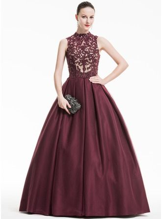 24fb2cdd06f Ball-Gown High Neck Floor-Length Tulle Lace Evening Dress With Ruffle  Beading Sequins