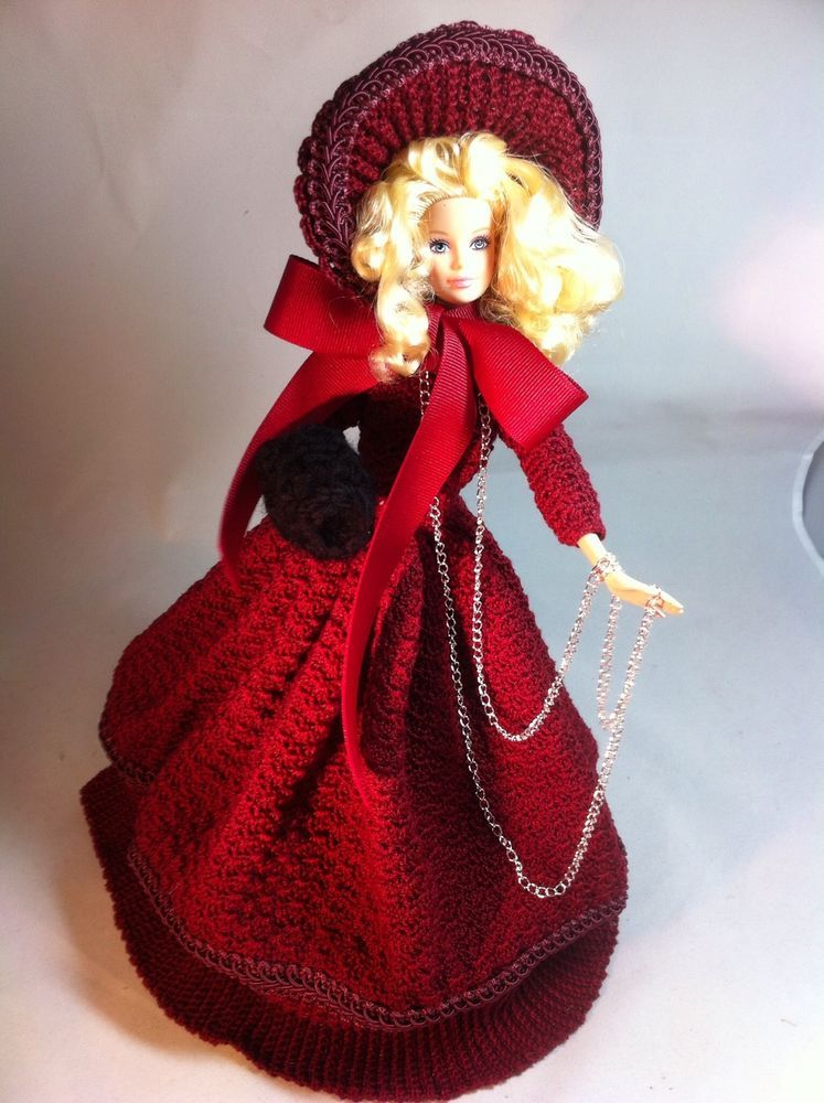 Mattel Barbie Doll W/Handmade Red Crocheted Christmas Carol Gown, Christmas