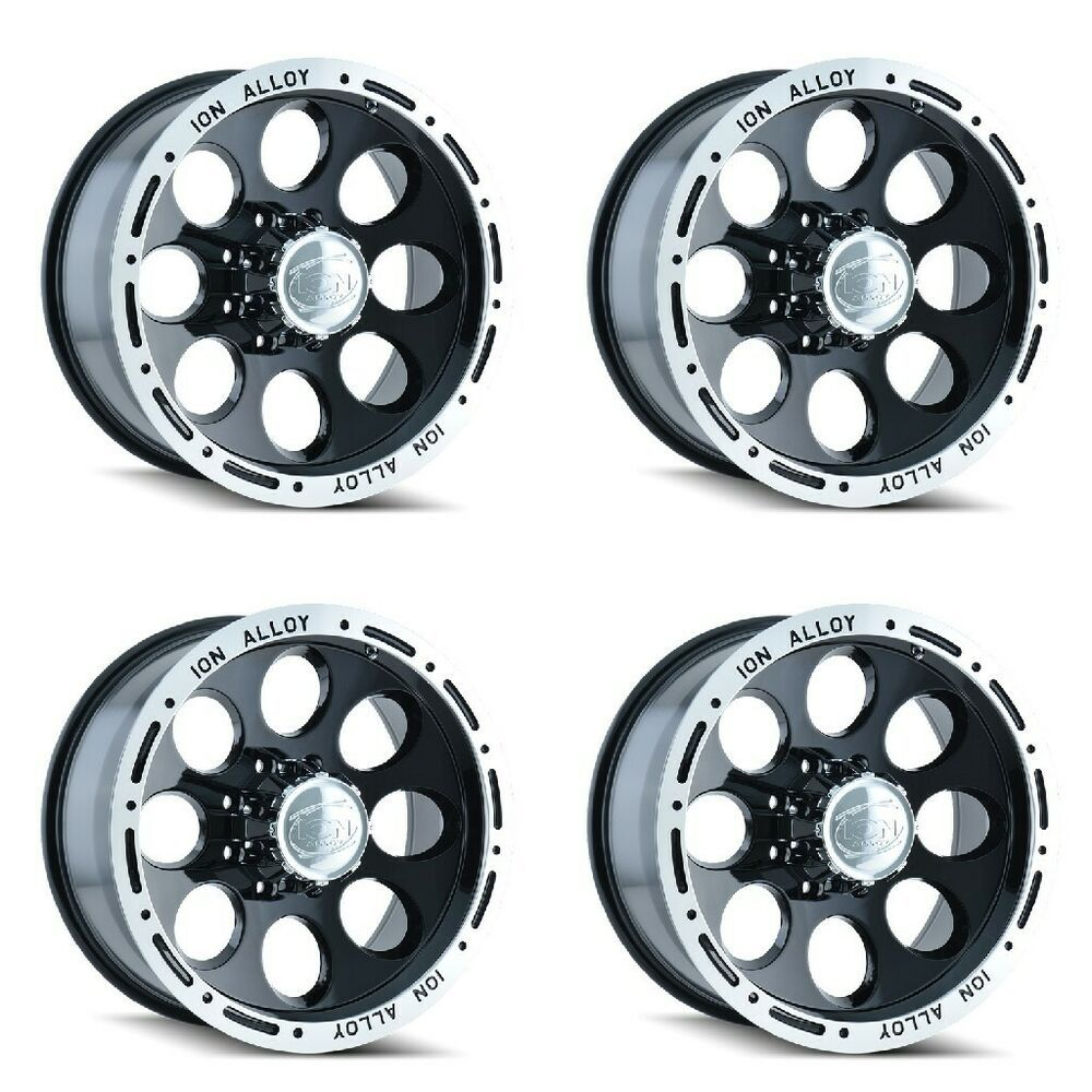 Set 4 16 Ion 174 Black Machined Wheels 16x10 5x4 5 38mm Lifted Ford Jeep 5 Lug Ion In 2020 Lifted Truck Wheels Truck Rims Truck Wheels
