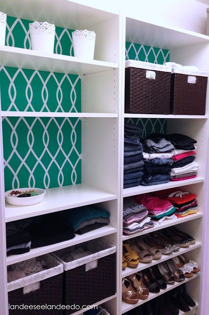 Closet Makeover: Ikea Billy Bookcases. What a great idea for the boy's inbuilt cupboards. Much more practical than what they have now.