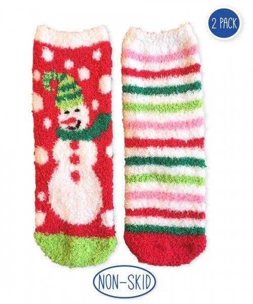 dc7df4d90e3 Jefferies Socks Snowman   Stripe Slipper Sock 2 PK