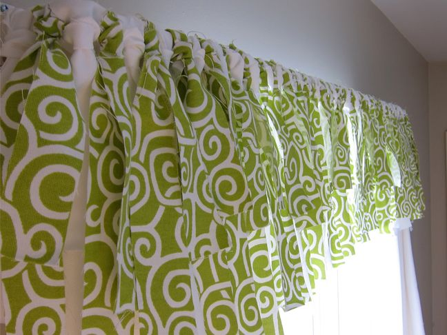No Sew Window Valance  Knot strips of fabric to curtain rod