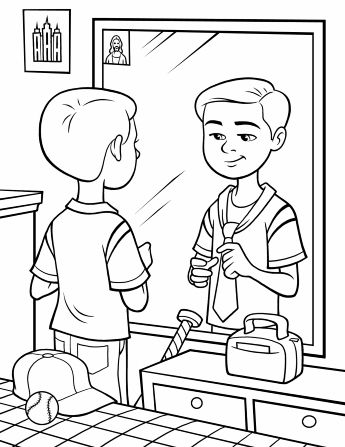 A boy stands in front of his mirror and practices tying a