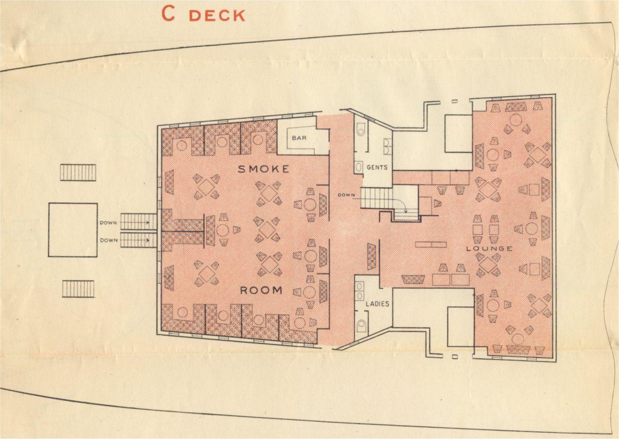 Tourist Third Cabin C Deck Plan Rms Aquitania 1929 Deck Plans Deck Bar Deck