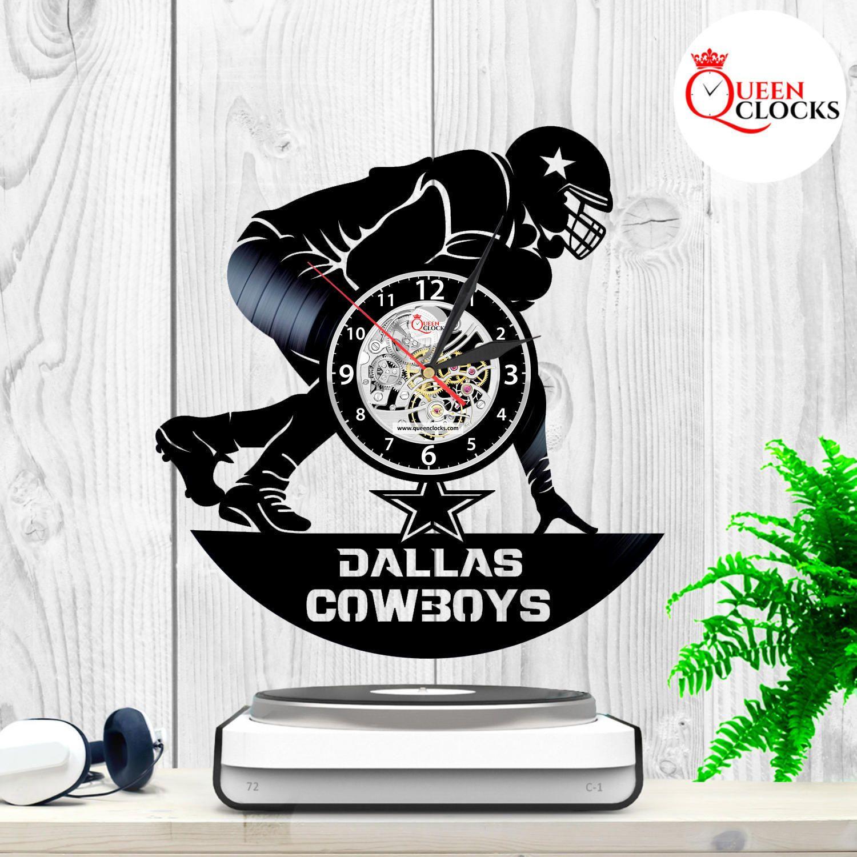 Dallas Cowboys Wall Clock Vinyl Record Art Football Home