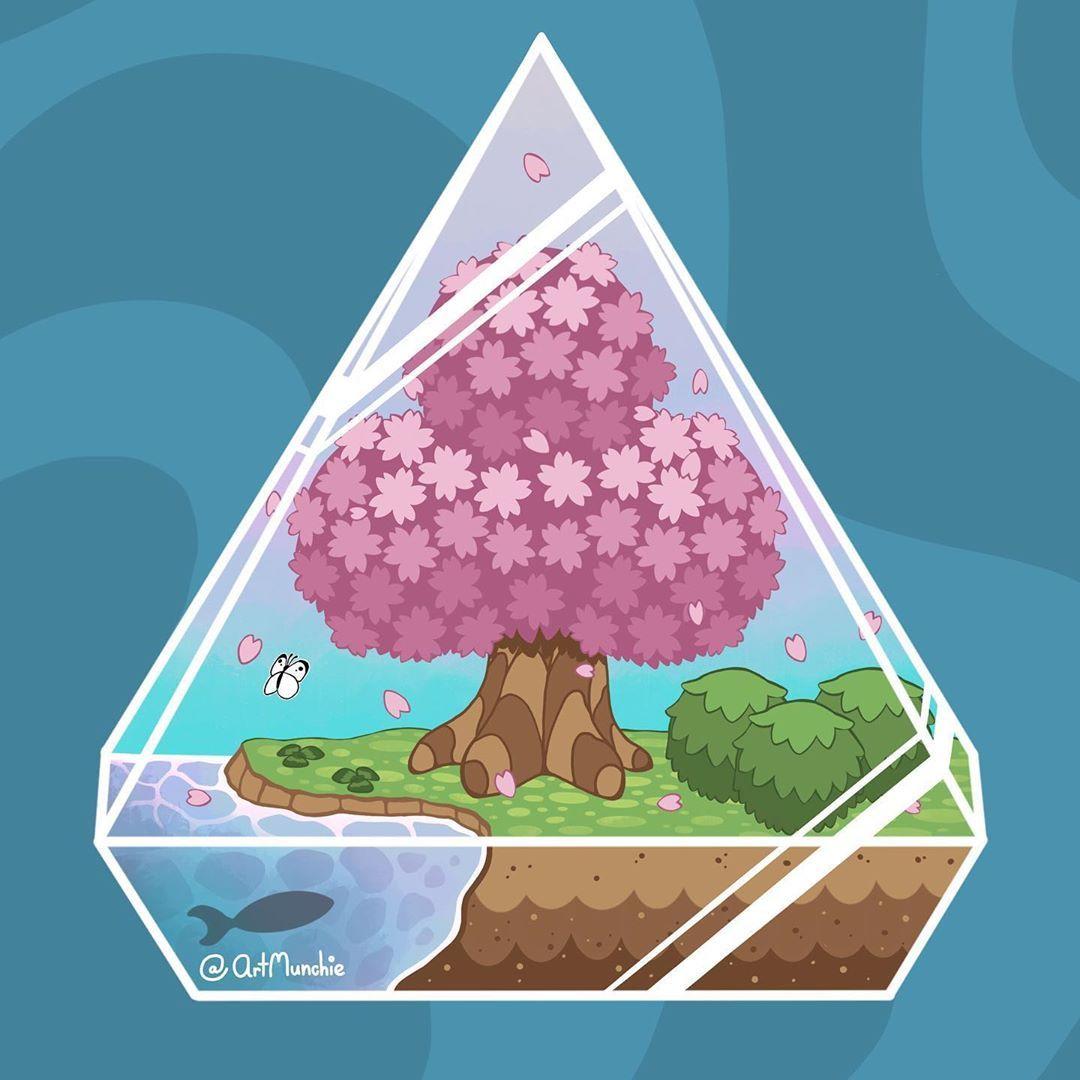 166 Likes 2 Comments Samantha Munchie Art Creator Artmunchie On Instagram I Love How This Cute Terrariu Cherry Blossom Tree Cherry Blossom Pink Trees