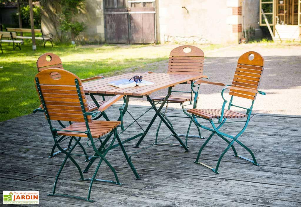 Salon de Jardin en Bois Pliable FLORA : Table 120 cm + 4 ...