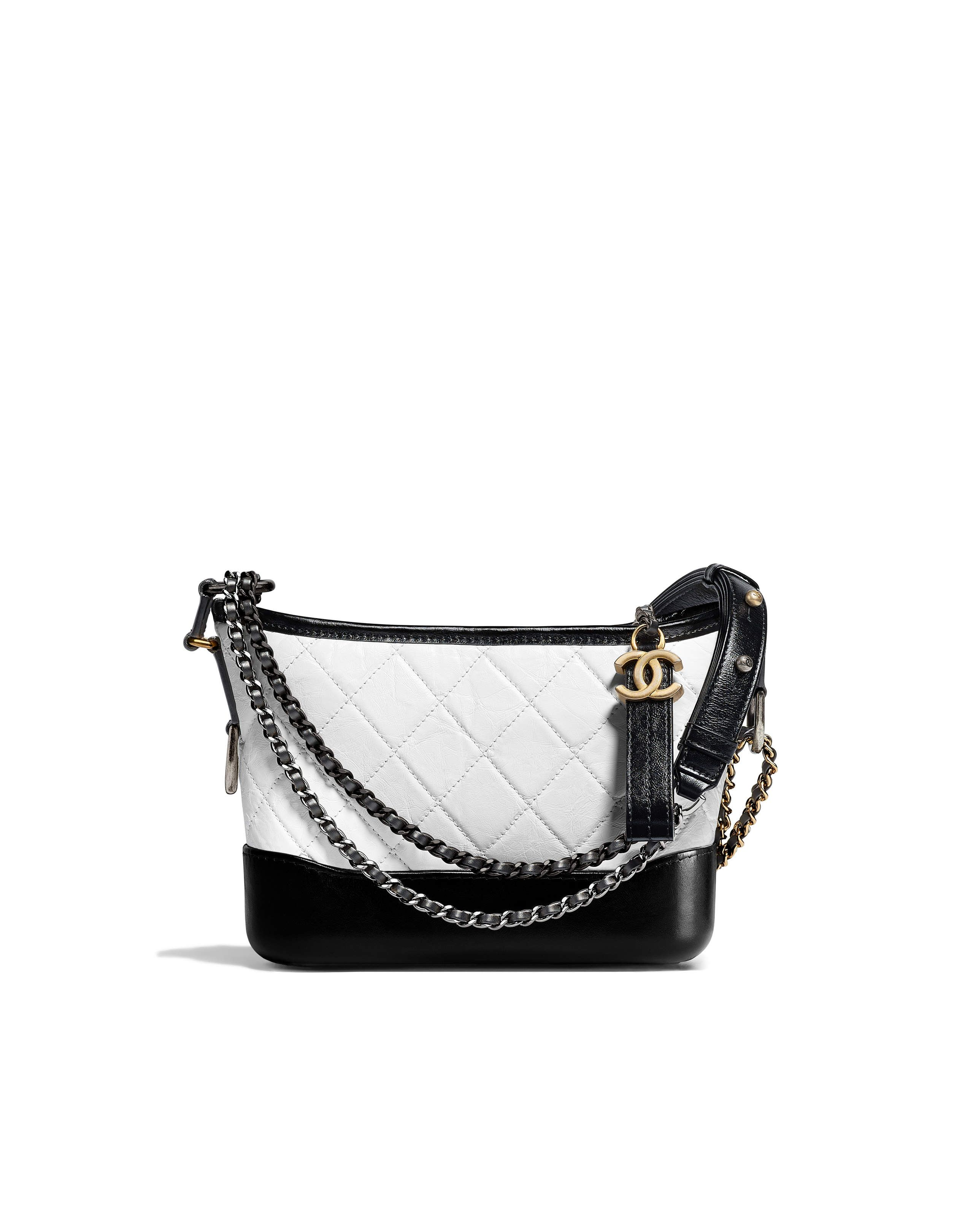 Chanel Fw 2017 2018 White Black Aged Calfskin S Gabrielle Small Hobo Bag