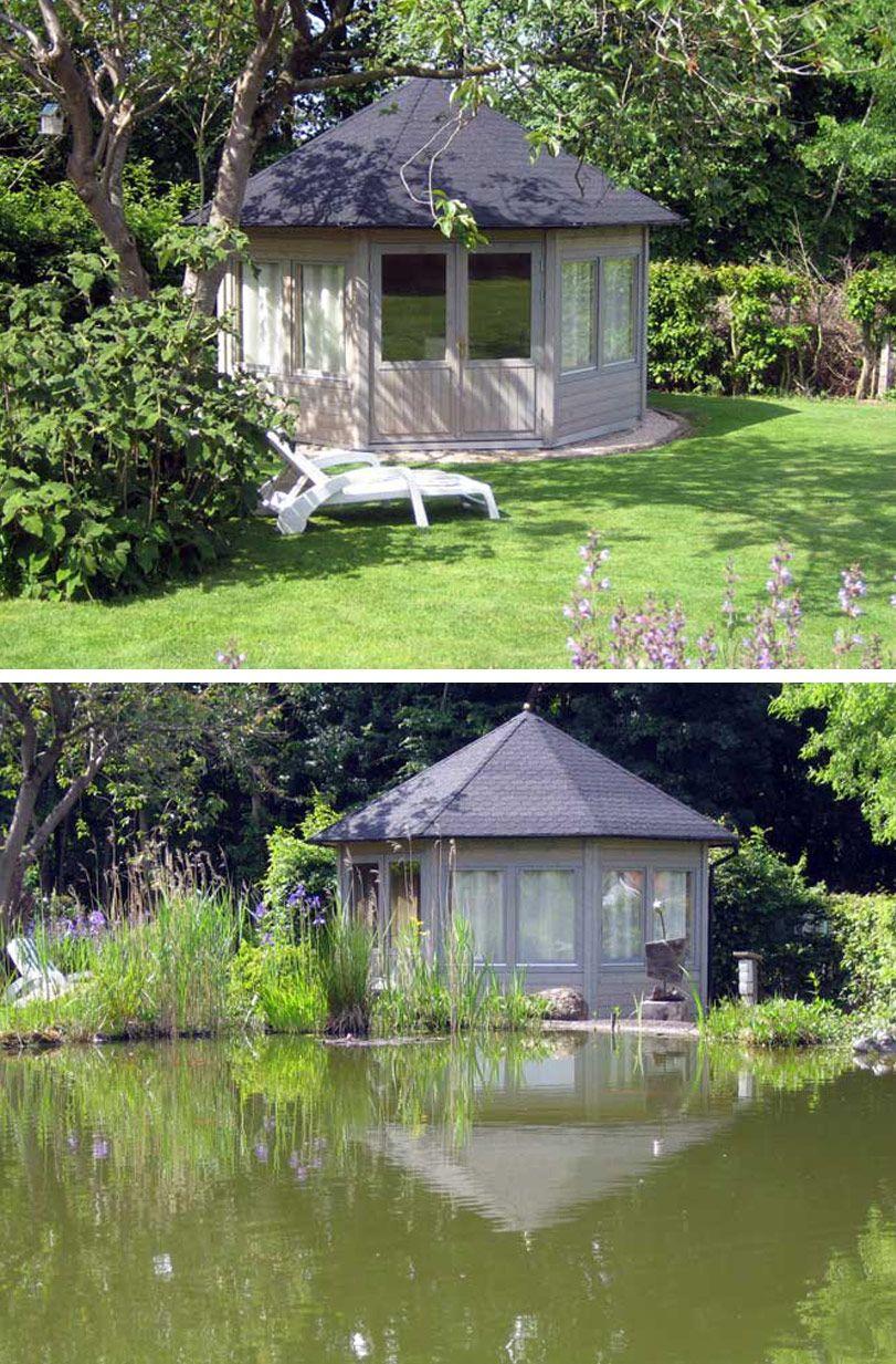 Idylle am Teich Gartenpavillon Baltrum wird aufgebaut