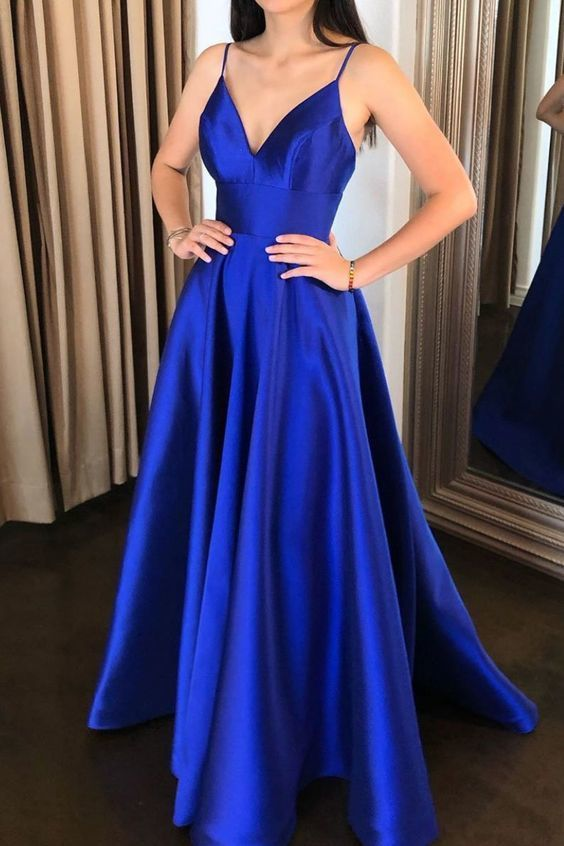 Simple V Neck Royal Blue Satin Long Prom Dress Evening Dress CR 2149 #bluepromdresses