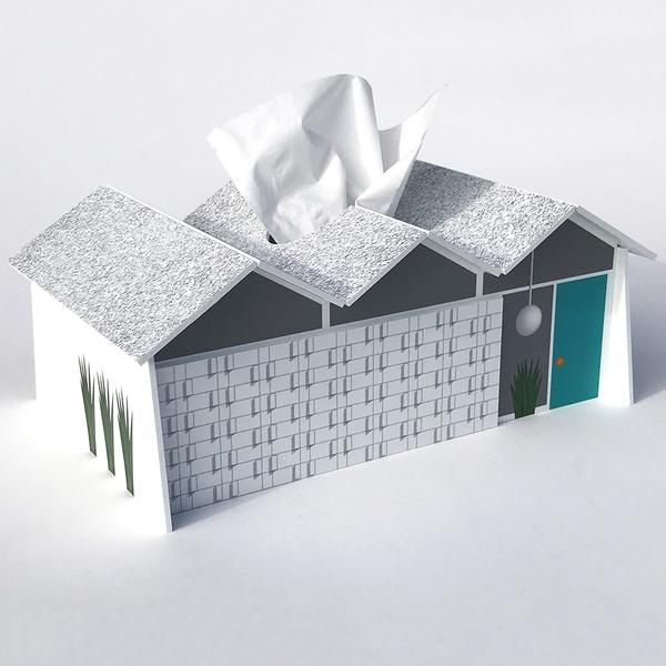 Best Midcentury Folded Plate Roof House Tissue Box Cover 640 x 480