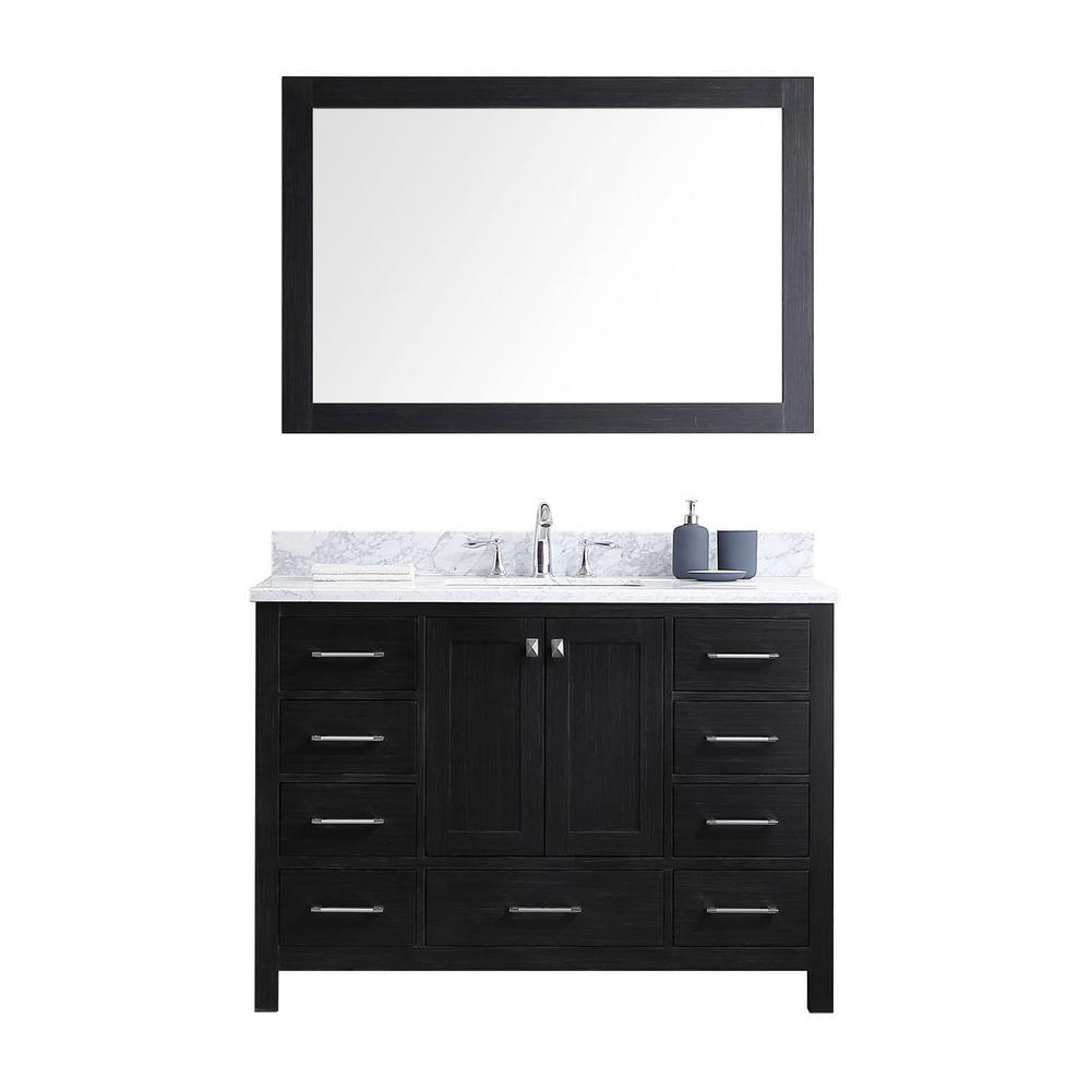 Virtu Usa Caroline Premium 49 In W Bath Vanity In Zebra Gray With Marble Vanity Top In White With Square Basin And Mirror Ks 60048 Wmsq Zg Marble Vanity Tops Single Bathroom Vanity Vanity Top