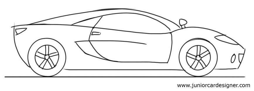 Easy Car Drawing Tutorial For Children Sports Car Side View Art