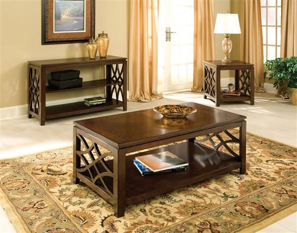 Woodmont Traditional Brown Cherry Wood Coffee Table Set Coffee