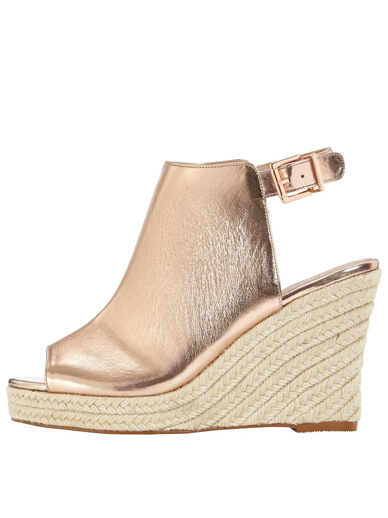 e2dde83772e V by Very Cloud Espadrille Wedge Sandal - Rose Gold These V by Very sandals  combine two of this season s top trends