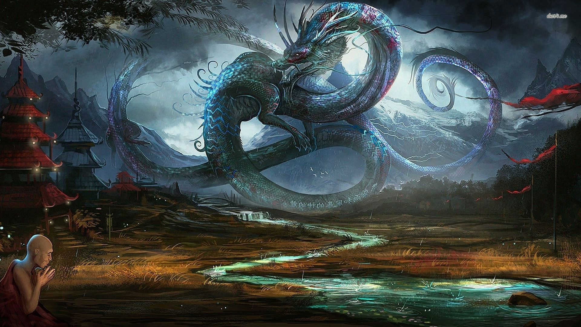 Dragon In Ancient Chinese Village Wallpaper Anime Wallpaper Dragon Pictures Art Wallpaper