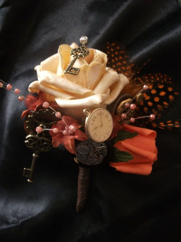 STEAMPUNK WEDDING BRIDAL BOUQUETS. | ... › Button Bouquets › Steampunk Bouquet and Accessory Collection