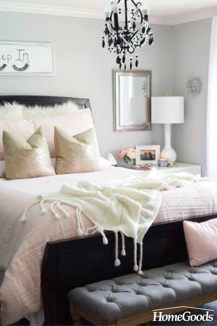 Romantic feminine perfect for summer this bedroom refresh shows that pale pink bedding paired with soft textures is an inviting combination