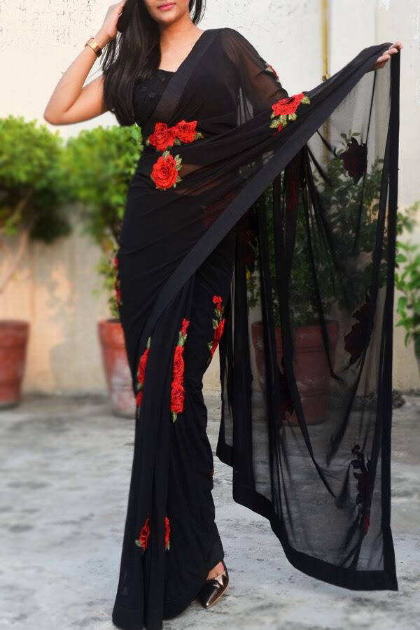 c40a80d4f0 Buy this Black Net Applique Saree by Colorauction from www.colorauction.com  #sarees #indiansaree #black #roses #colorauction