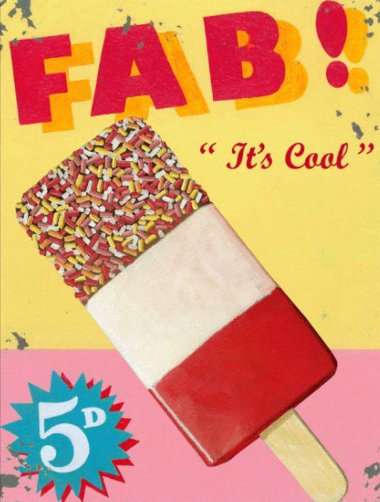 Ice lolly Ice cream Retro Metal Wall Plaque Art Vintage advertisement tin Sign