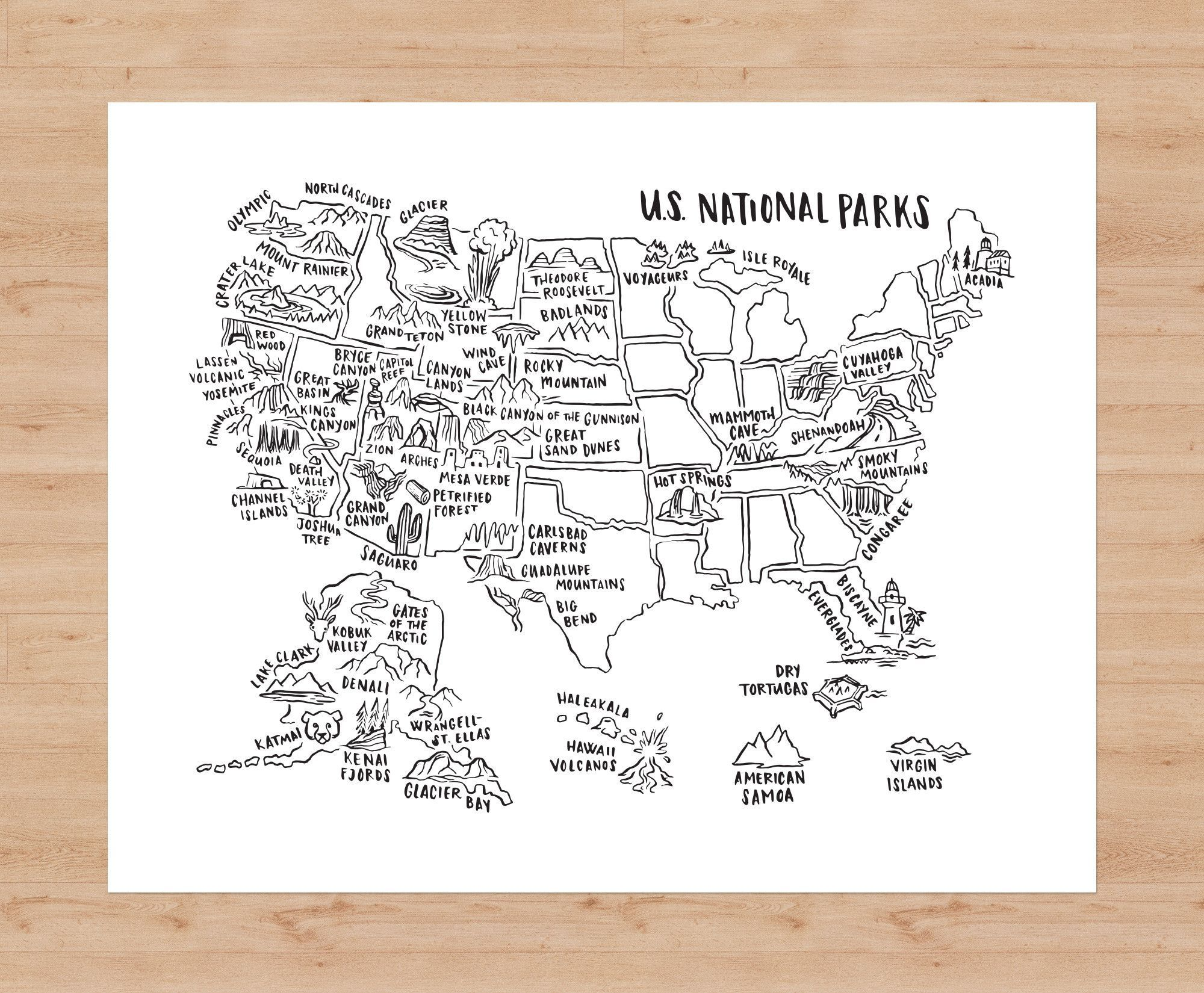National Parks Map Poster Products Parks And Map Posters - Map of us national parks poster