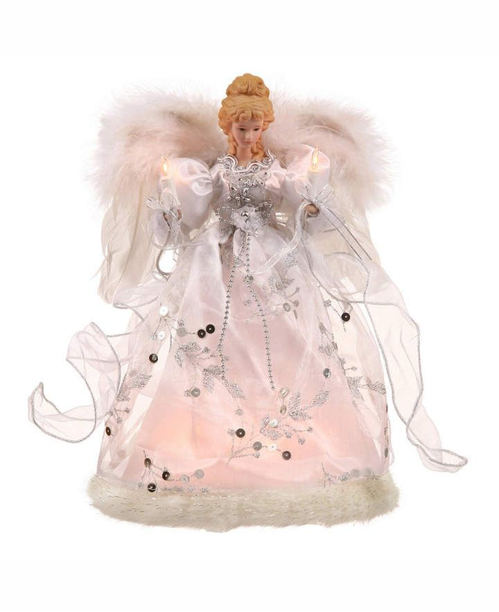 Vickerman 12 White-Silver Lit Angel Christmas Tree Topper Pink