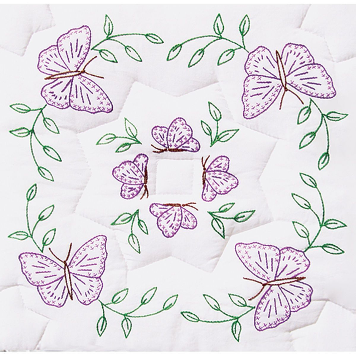 "Jack Dempsey Stamped White Quilt Blocks 9/""x9/"" 12//pkg-butterfly"
